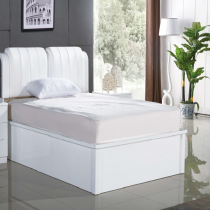 Rugby White Double Bed (White Leather)