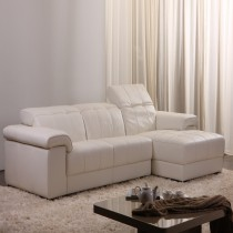 Stowe White Top Graded Real Leather Corner Sofa Suite