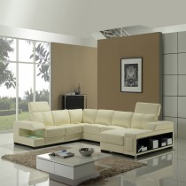 Designer Cream Top Graded Real leather Leather Corner Sofa