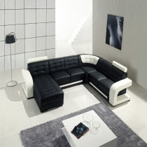 Black and White Corner Leather sofa Corner+ Chaise+ 2Seater