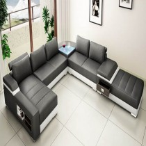 Designer Black and White corner leather sofa suite