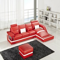 Designer Aster Red Small Corner Leather Sofa Suite