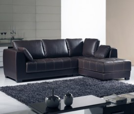 Cornwall Corner Brown Leather Sofa Suite 3Seater+Chaise