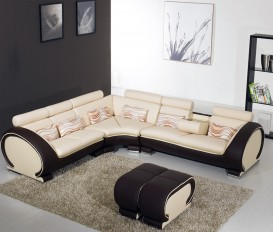 Brown and Cream Top Graded Real Leather Corner sofa
