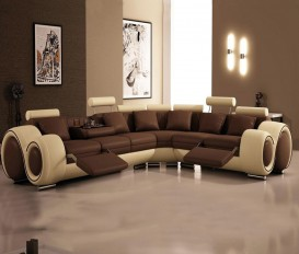 Infinity Corner Brown and Cream Top Graded Real Leather Sofa Suite
