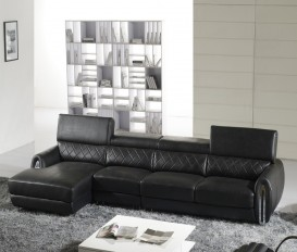 Designer Acacia Black Corner Leather Sofa Suite
