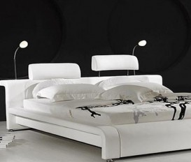 Designer Real Leather Headboard Bed
