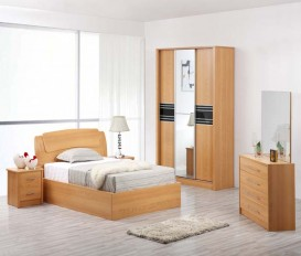 Designer Beech Colour Solid MDF Wood Bedroom Set ( Ref # 9202)