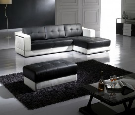 Black and White Top Graded Real Leather Corner Sofa Suite