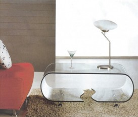 Designer Curved Transparent Glass Coffee Table
