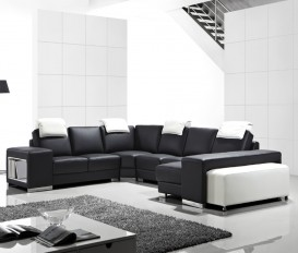 Designer Capri Black and White Corner Leather Sofa Suite