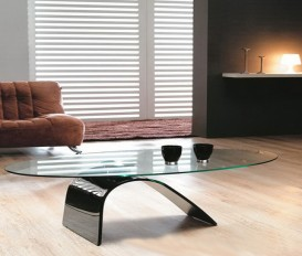 Clearance Sale Designer Hot Bending Tempered Glass With Black Painting Coffee Table