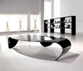 Clearance Sale Designer Hot Bending Clear Glass With Black Painting Coffee Table