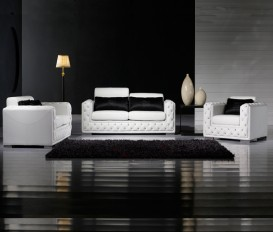 Designer White Top Graded Real Leather Seater Sofa