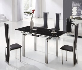 Designer Extended Tempered Glass Dining Table with High Back Chairs