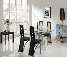 Clearance Sale Clear Glass Dining Table with 4 Black and White Chairs