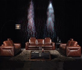 Designer Daisy Thick Imported Leather Dark Brown Sofa Suite
