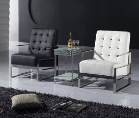 Designer White and Black Chair