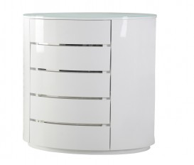 Designer Grace White 5 Drawer Chest (Soft Closing Drawer System)