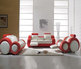Infinity White and Red Manual Recliner Leather Sofa Suite