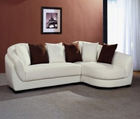 Designer Iris Leather White Corner Sofa Suite
