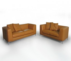 Thick Imported Leather Dark Brown Sofa