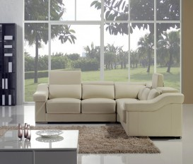 Designer Lily Cream Top Graded Real Leather Corner Sofa Set
