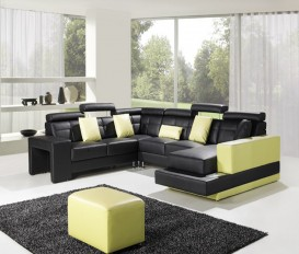 Black and Yellow Leather Sofa Suite