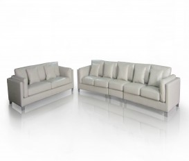 Designer Gray Top Graded Real Leather Sofa Suite