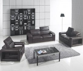 Designer Matira Black Top Graded Real Leather Sofa Suite Milan