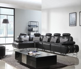 Black Leather Corner Sofa Suite 1+1+1+ 1 Corner