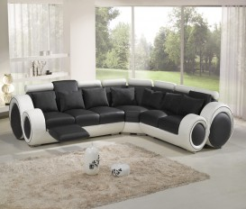 Infinity Corner Black and White Top Graded Real Leather Sofa Suite