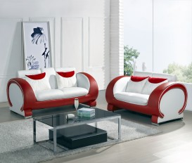 Blossom White and Red Top Graded Real Leather Sofa