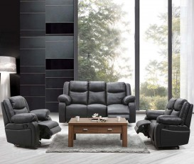 Designer Orchid Black Top Graded Real Leather Recliner Sofa