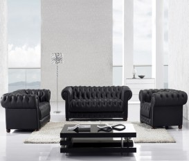 Designer Oskar Chesterfield Black Top Graded Real Leather Sofa Suite