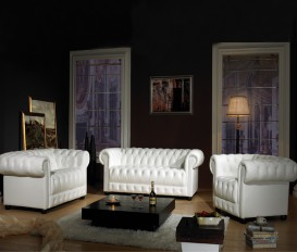 Designer Oskar Chesterfield White Top Graded Real Leather Sofa Suite