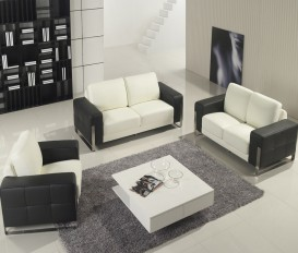 Designer Purity White and Black Top Grain Leather Sofa Suite