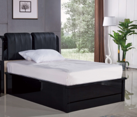 Rugby Black King Bed (Black Leather)