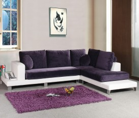 Wisley Purple and White Corner Sofa Suite