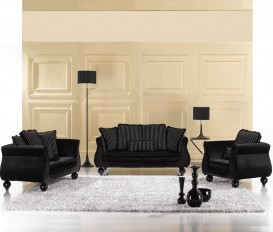 Designer Seville Black 1+2+3Seater Sofa Suite