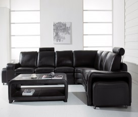Designer Sorrento Black Top Graded Real Leather Corner Sofa Suite