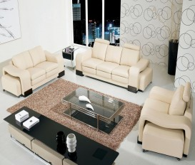 Designer Cream Top Graded Real Leather Sofa Suite