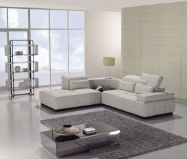 Lotus White Top Graded Real Leather Corner Sofa