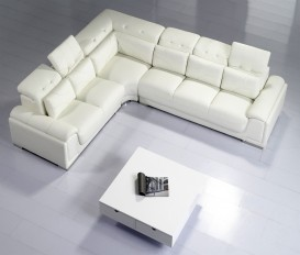 Camellia White Top Graded Real Leather Corner Sofa