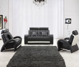 Designer Tulip Leather Black and White Sofa Suite