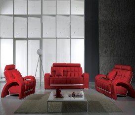 Designer Tulip Leather Red Sofa Suite