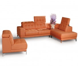 Designer Urbino Peach Top Graded Real Leather Corner Sofa Suite