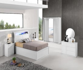 Rugby White Bedroom Set  with Full Storage Dressing+ Wardrobe+ Night stands