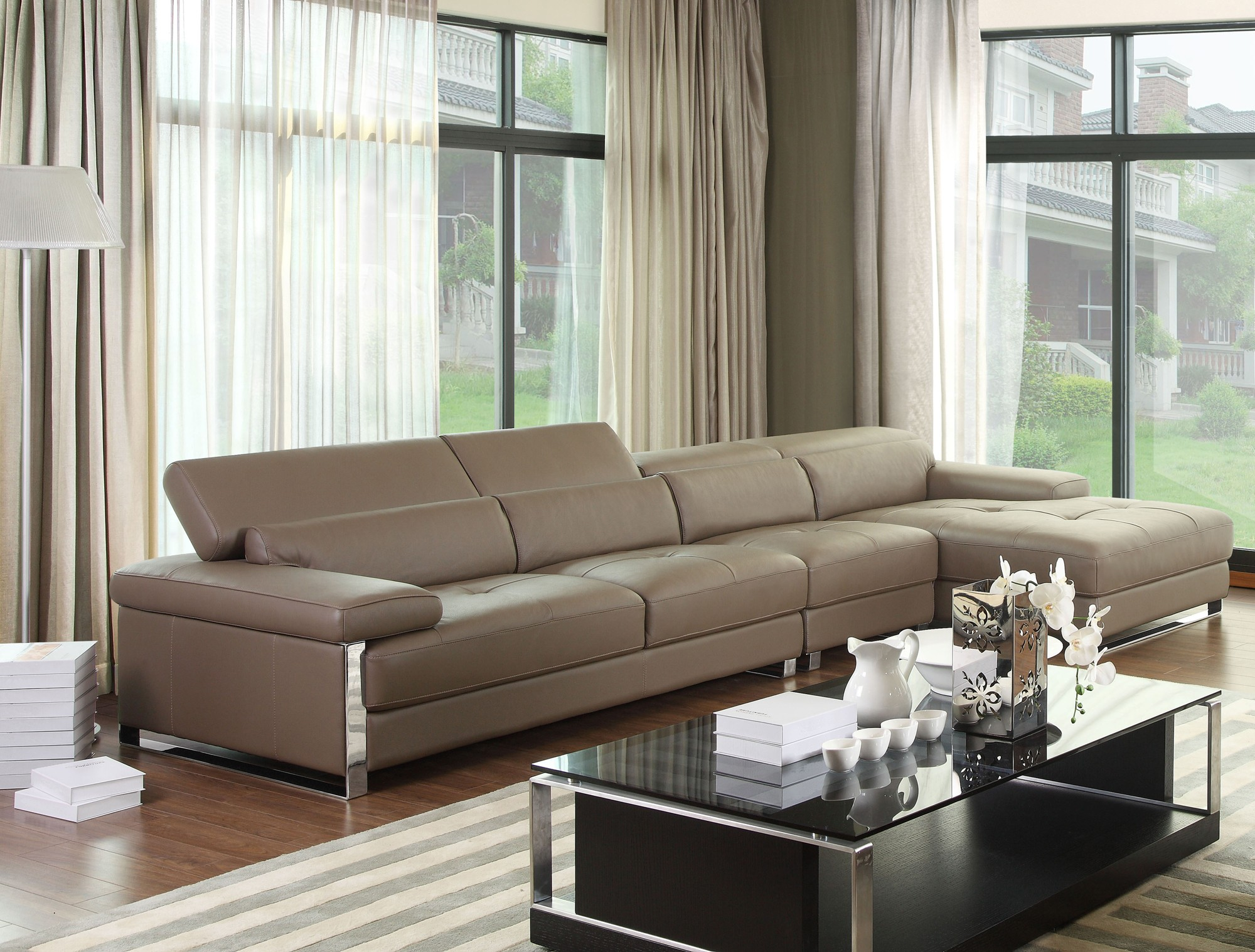 Chelsea grey top graded real leather corner sofa for Chelsea leather sofa