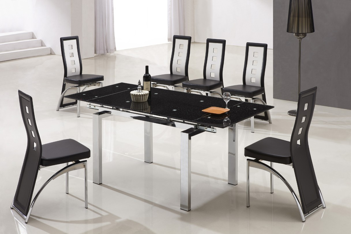 Designer extended tempered glass dining table with 6 black for Tempered glass dining table